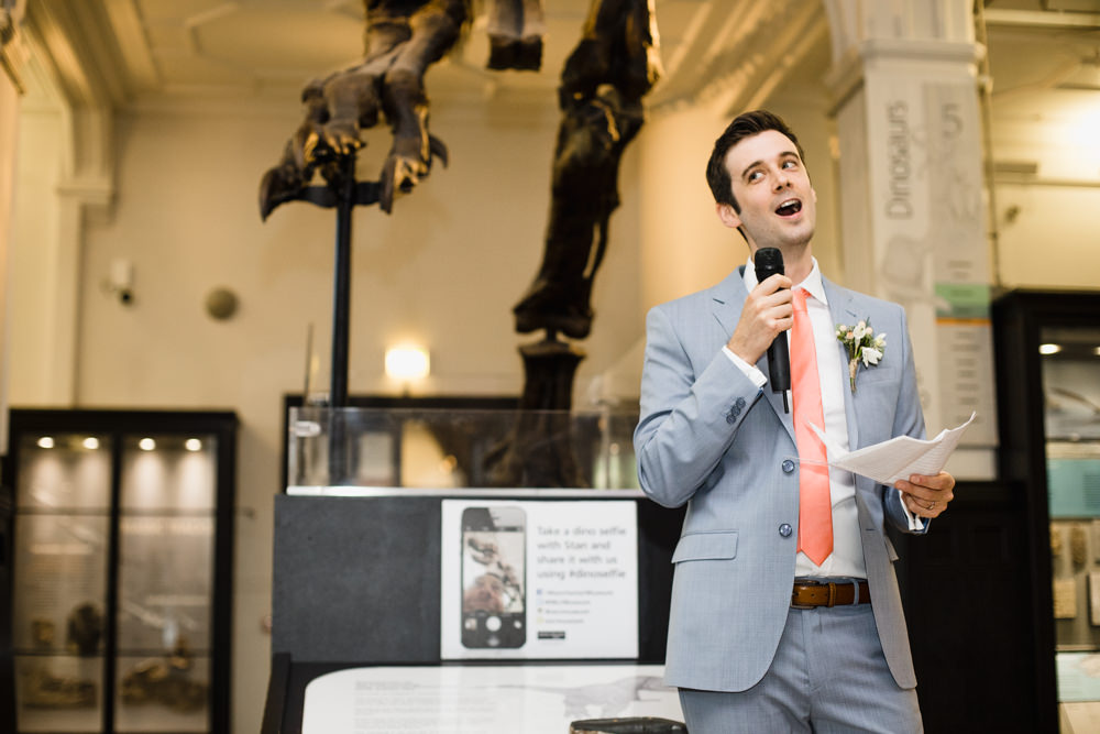 Pale Blue Grey Suit Groom Peach Tie Manchester Museum Wedding Chris Barber Photography