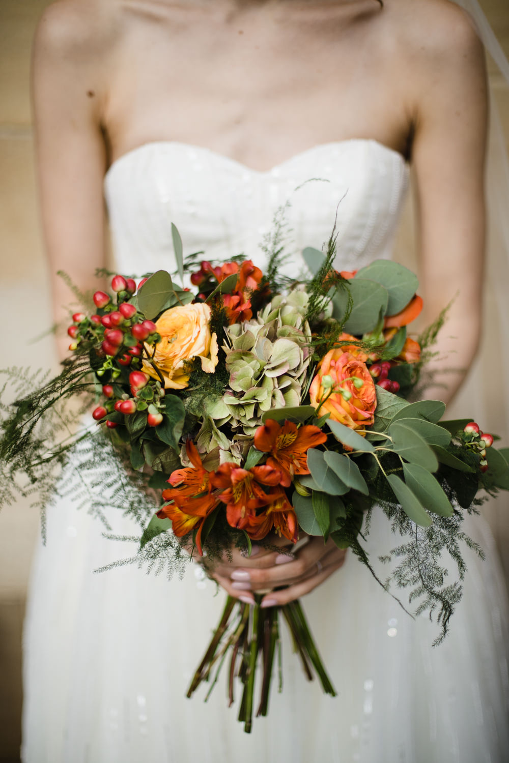 Orange Red Rose Berries Greenery Bride Bridal Bouquet Manchester Museum Wedding Chris Barber Photography