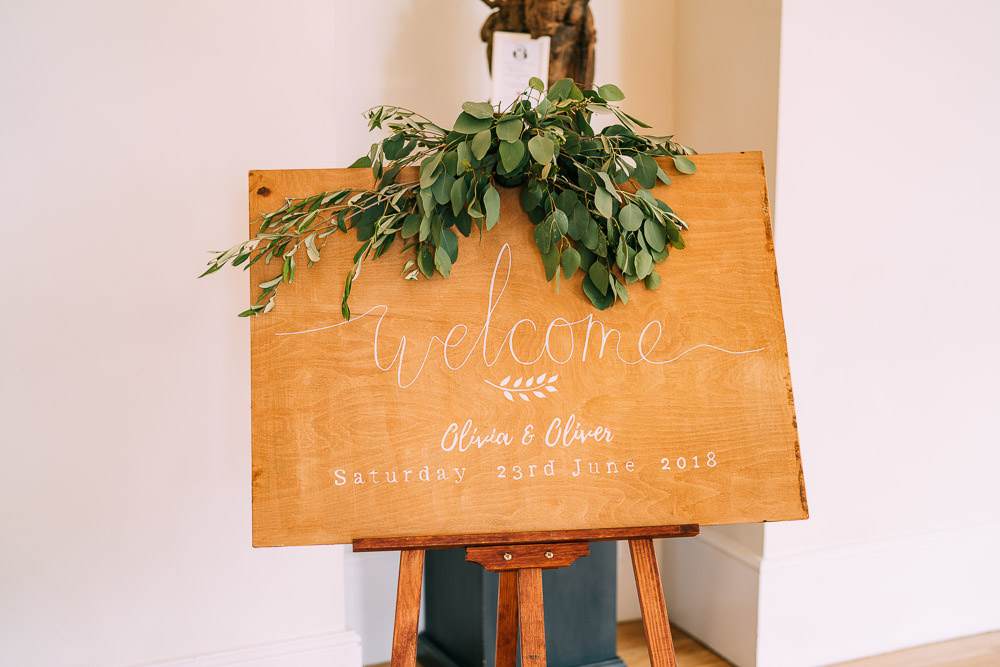 Welcome Sign Wood Calligraphy Greenery Foliage Easel Old Down Estate Wedding Albert Palmer Photography