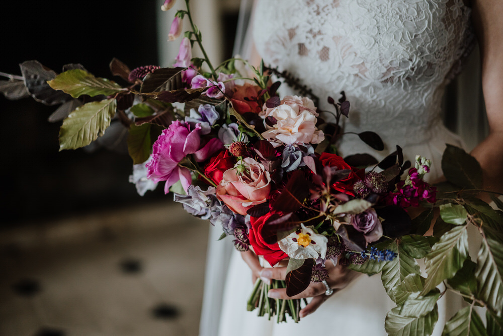 Bouquet Flowers Bride Bridal Rose Foliage Greenery Red Pink Wild Natrual Foxglove Pylewell Park Wedding New Forest Studio