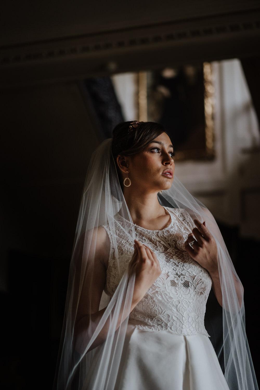 Bride Bridal Dress Gown Empire Line High Neck Straps Veil Pylewell Park Wedding New Forest Studio