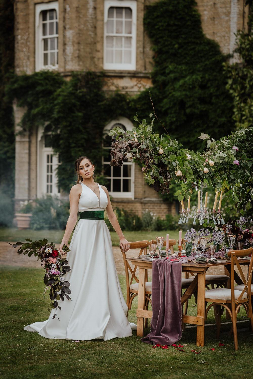 Bride Bridal Dress Gown Empire Line High Neck Straps Pylewell Park Wedding New Forest Studio