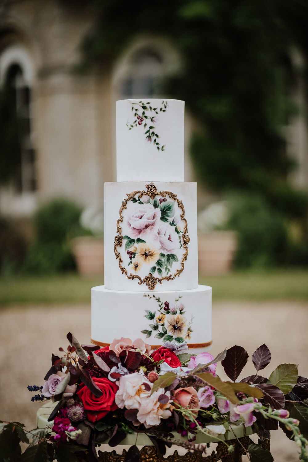 Cake Table Painted Floral Illustrated Art Pylewell Park Wedding New Forest Studio
