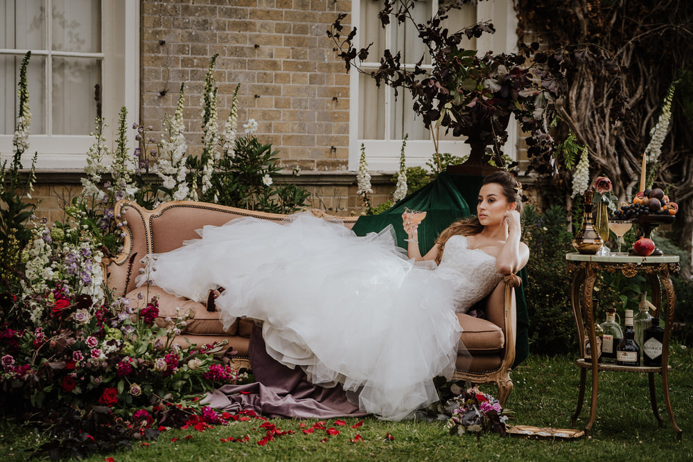 Chaise Lounge Seating Meadow Flowers Area Pylewell Park Wedding New Forest Studio