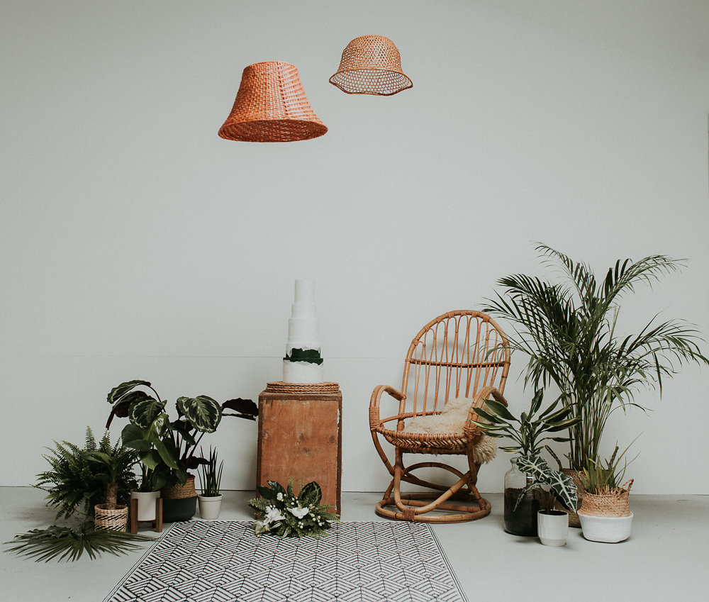 Peacock Chair Decor Table House Plants Succulents Foliage Greenery Cake Lampshades Scandinavian Mid Century Minimal Wedding Ideas Rachel Lou Photography