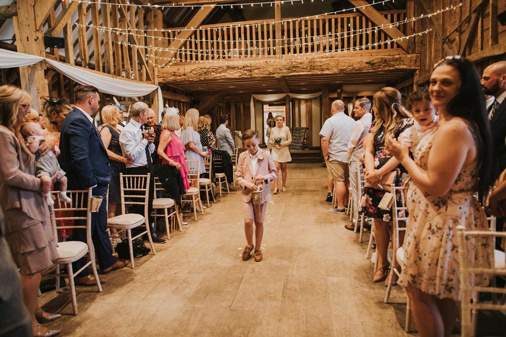 Barn Ceremony Page Boy Tewin Bury Farm Wedding Brook Rose Photography