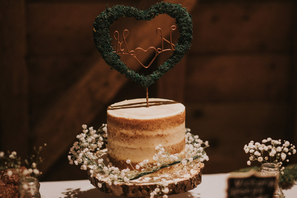 Naked Cake Gypsophila Log Wood Slice Stand Copper Wire Topper Tewin Bury Farm Wedding Brook Rose Photography