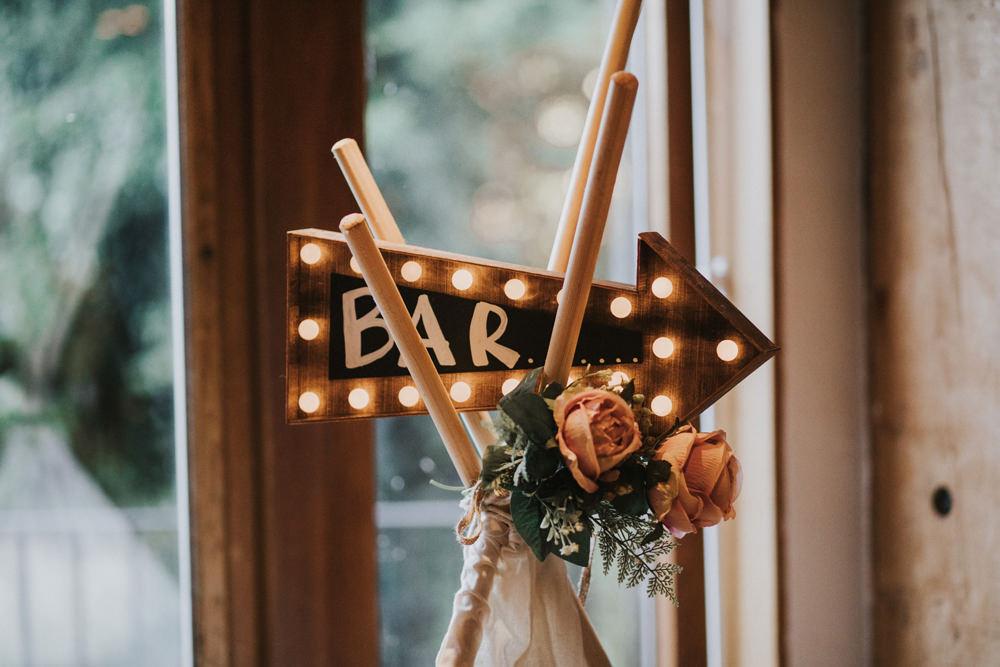 Light Up Direction Arrow Bar Sign Tipi Tewin Bury Farm Wedding Brook Rose Photography