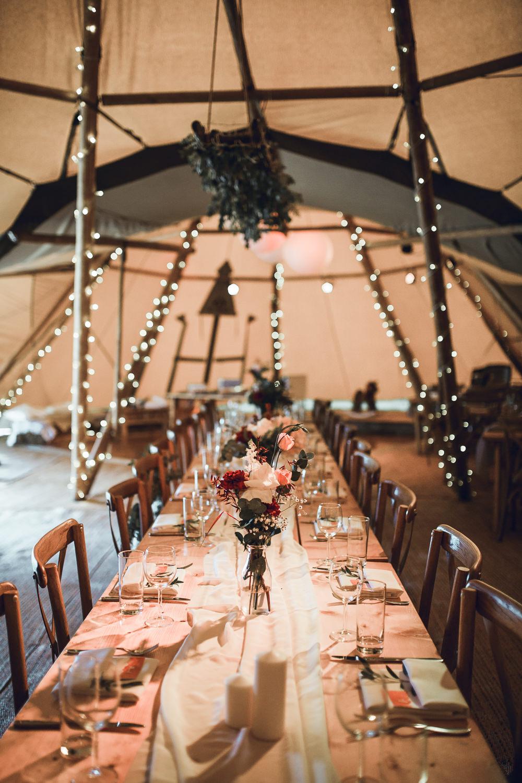 Flowers Tables Fairy Lights Decor Tipi Garden Wedding Amy Jordison Photography