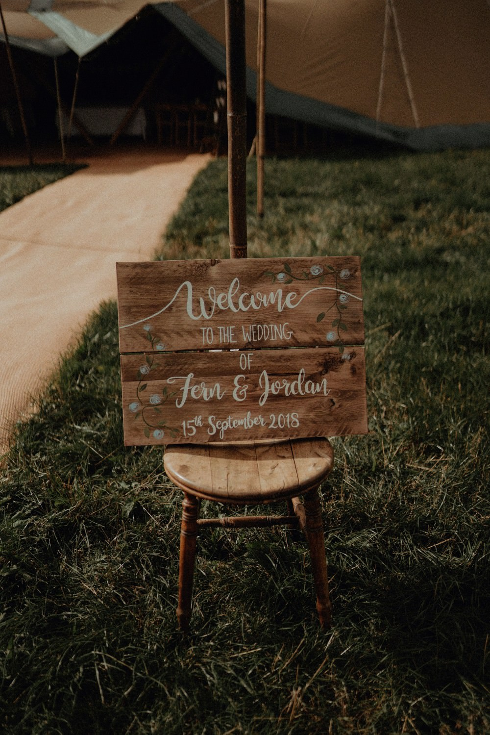 Wooden Rustic Calligraphy Sign Signage Autumn Dark Red Wedding Belle Art Photography