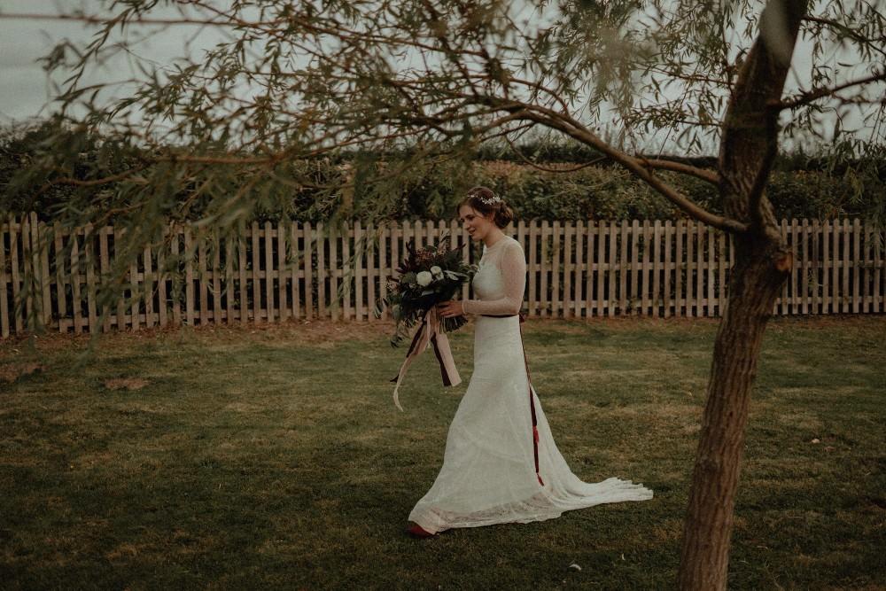 Katya Katya Lace Dress Gown Bride Bridal Belt Long Sleeves Autumn Dark Red Wedding Belle Art Photography