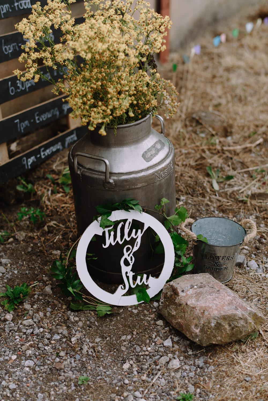 Milk Churn Flowers Wild Seasonal Boho Festival Wedding Matt Bowen Photography