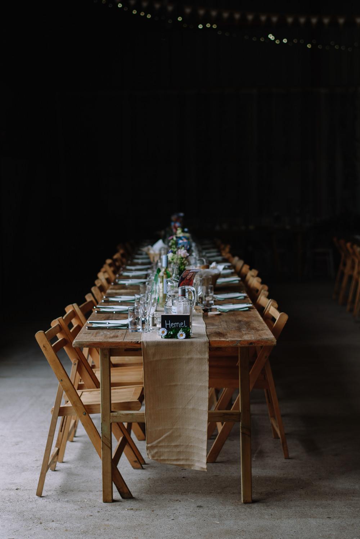 Long Tables Rustic Barn Hessian Burlap Runner Boho Festival Wedding Matt Bowen Photography