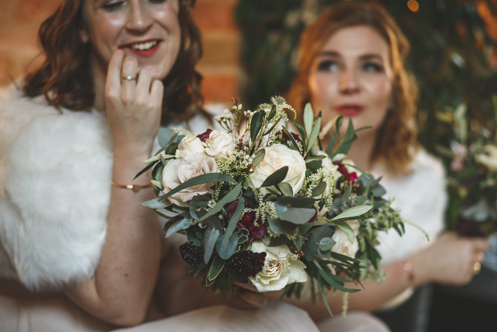 Bouquet Flowers Bridesmaid Red Cream Rose Greenery Foliage Christmas Wedding Gareth Newstead Photography