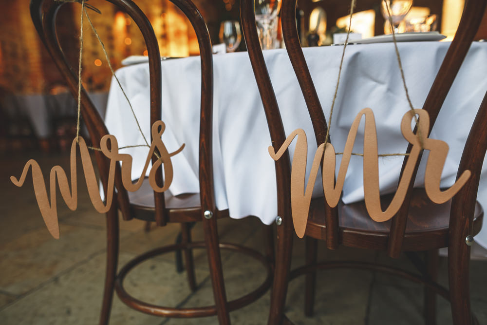 Copper Mr Mrs Sign Chair Christmas Wedding Gareth Newstead Photography