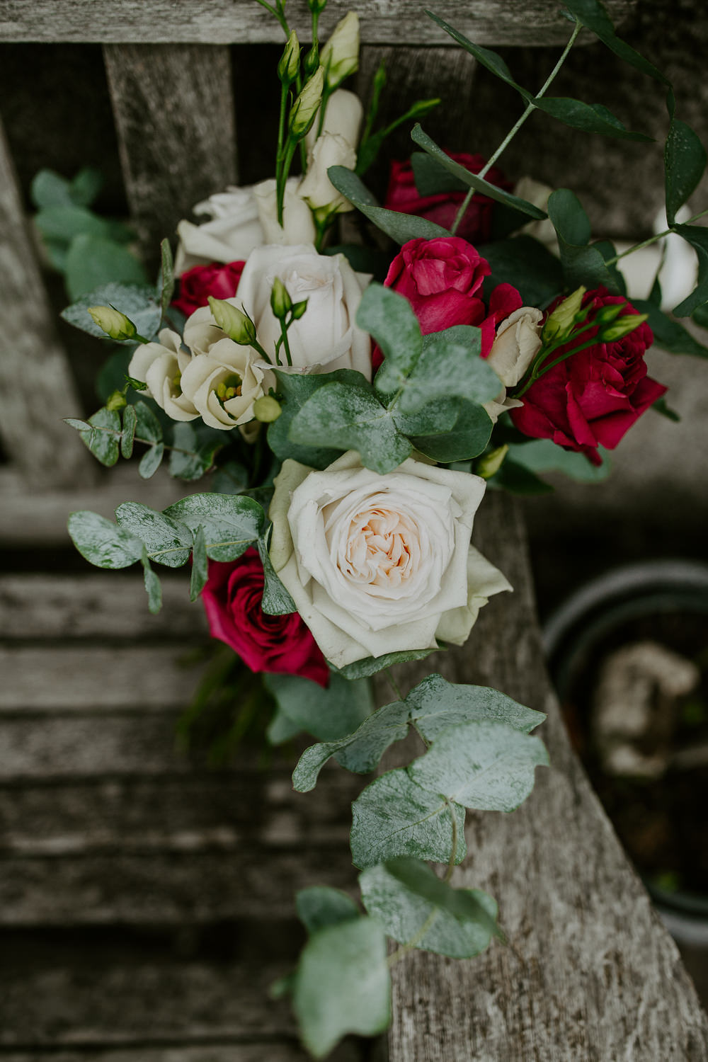 Bride Bridal Bouquet Flowers Greenery Foliage Red Rose City Cathedral Country Marquee Wedding Siobhan Beales Photography