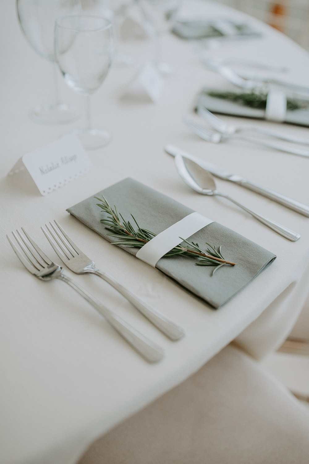 Rosemary Green Napkin Place Setting City Cathedral Country Marquee Wedding Siobhan Beales Photography