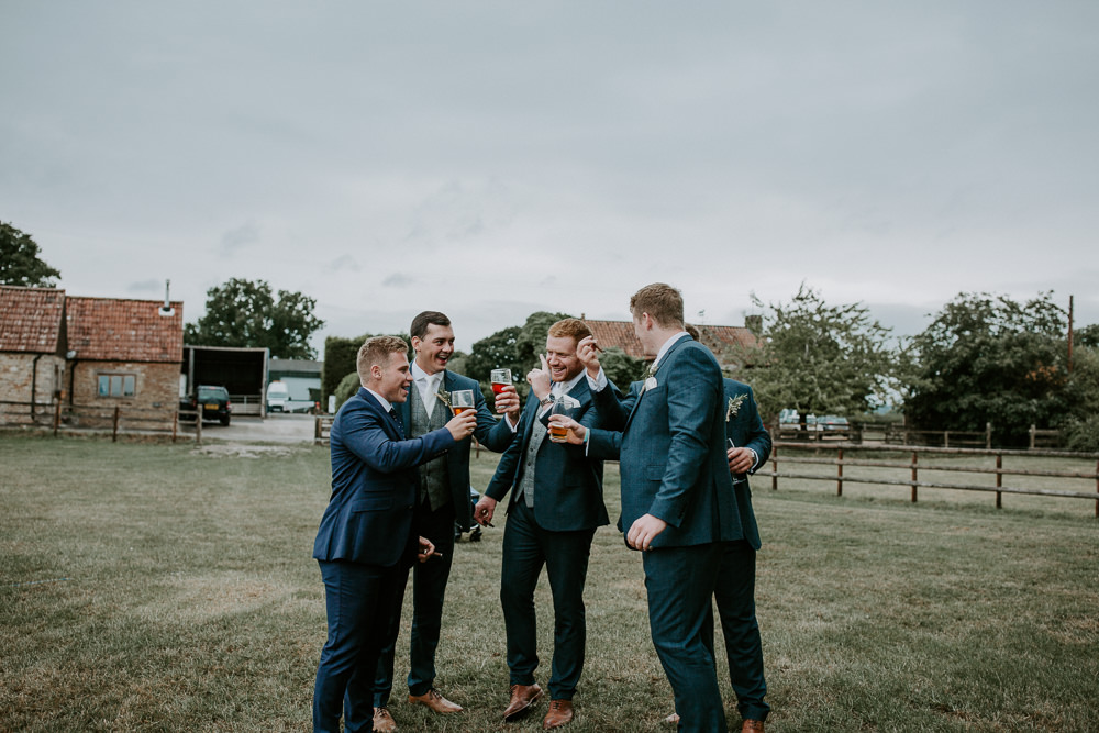 Groom Suit Navy Grey Tweed Waistcoat Groomsmen City Cathedral Country Marquee Wedding Siobhan Beales Photography