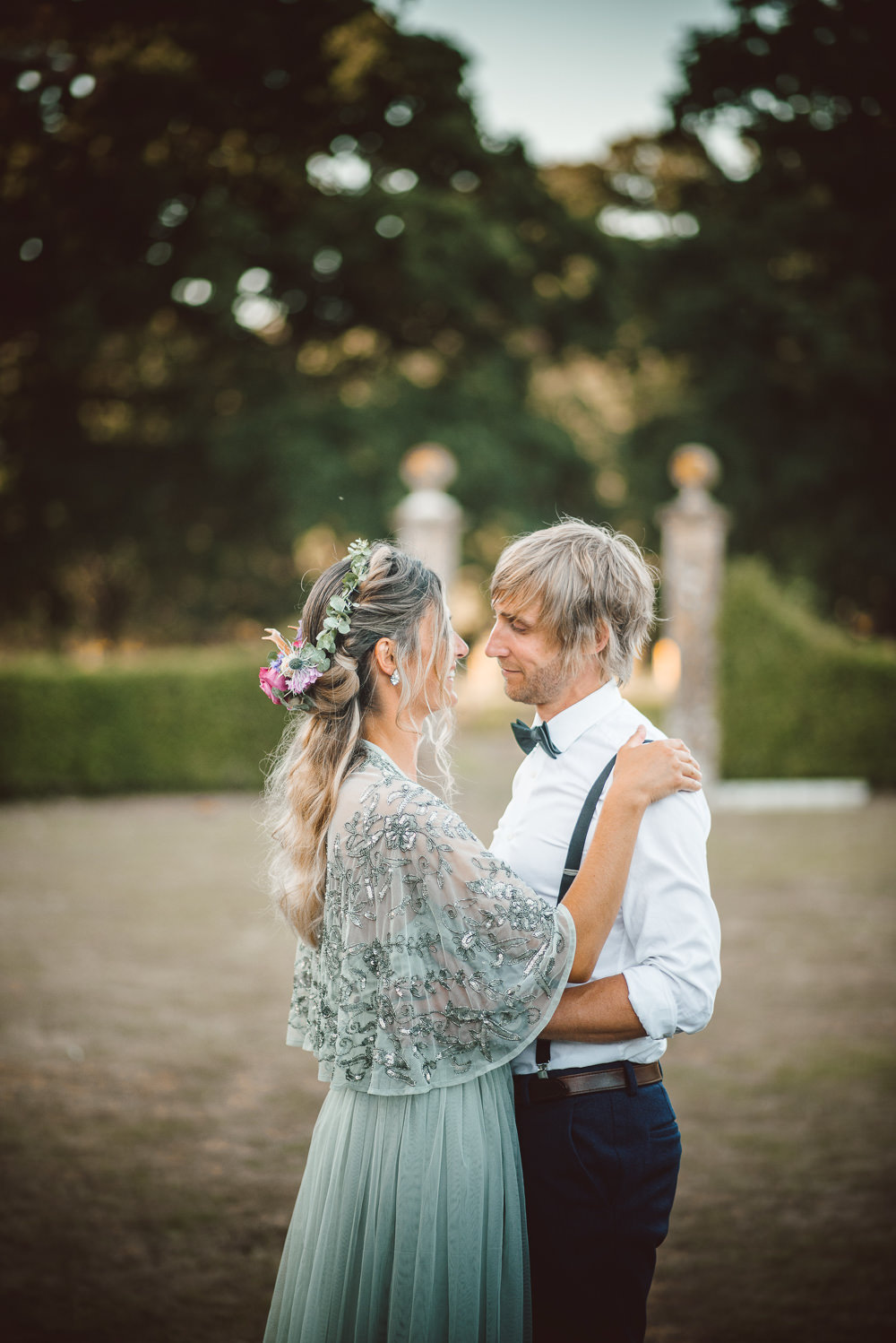 Dress Gown Bride Bridal Green Sequin Tulle Sleeves Embellished Cape Ethereal Magical Golden Hour Wedding Ideas Dhw Photography
