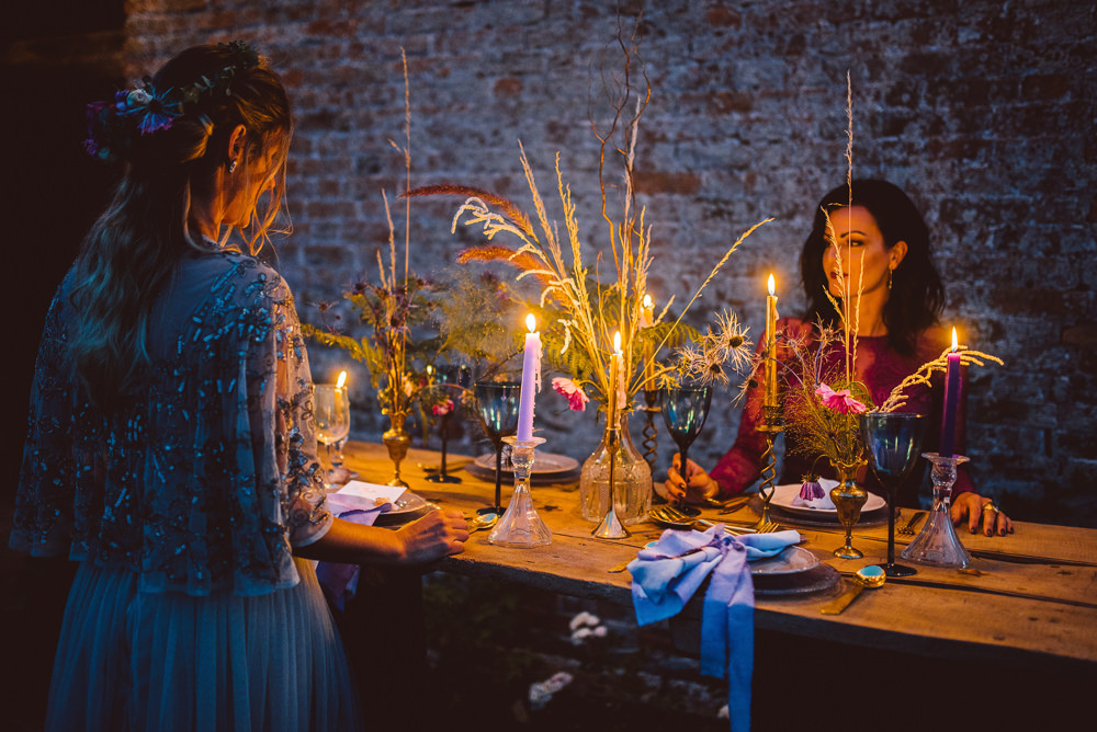 Evening Table Decor Candles Flowers Ethereal Magical Golden Hour Wedding Ideas Dhw Photography