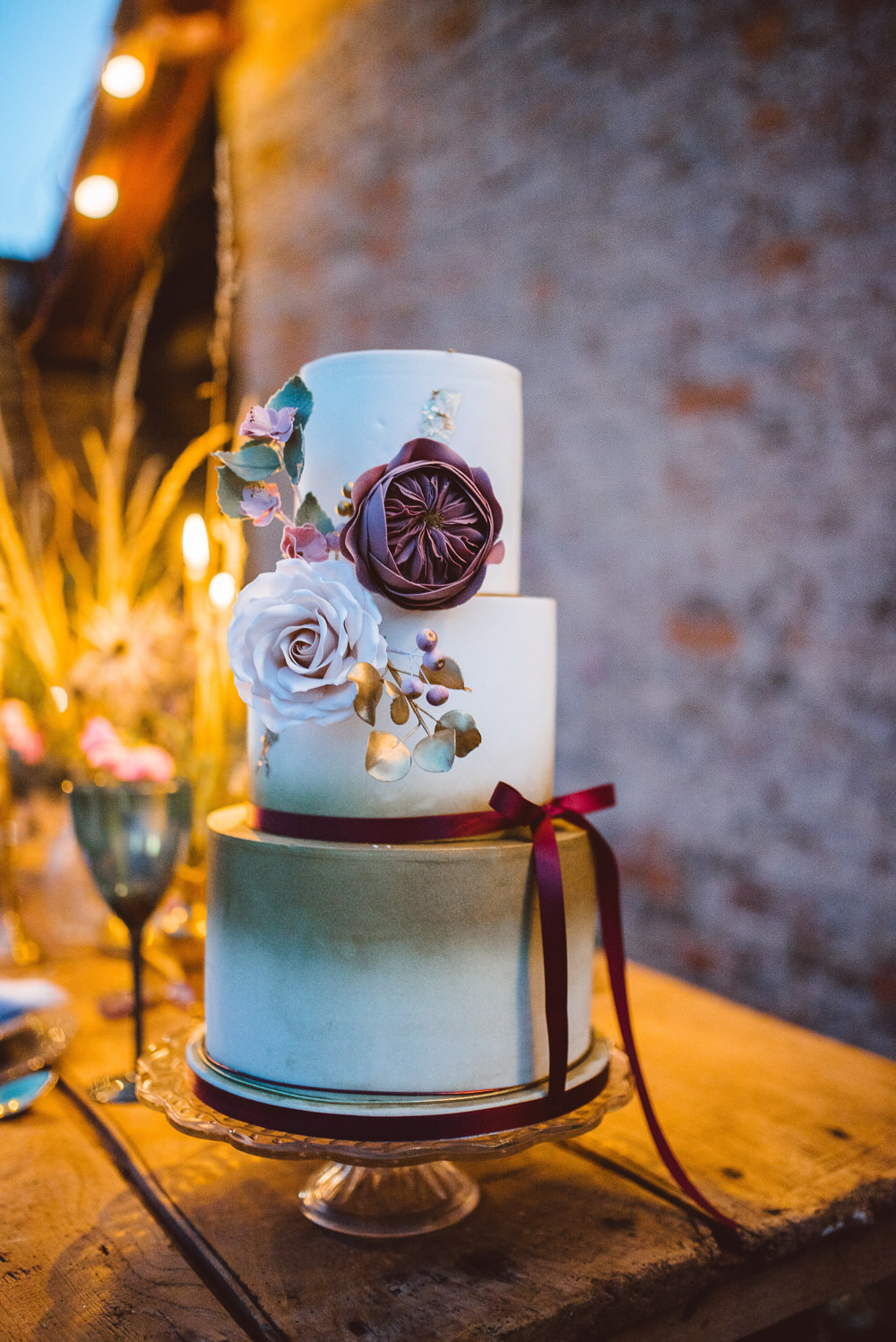 Burgundy Purple Cake Ribbon Flower Tier Ethereal Magical Golden Hour Wedding Ideas Dhw Photography