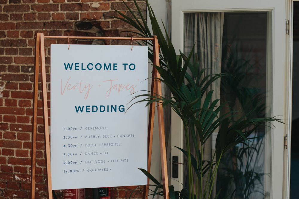 Timings Welcome Sign Graphic Copper Frame Godwick Great Barn Wedding Joshua Patrick Photography