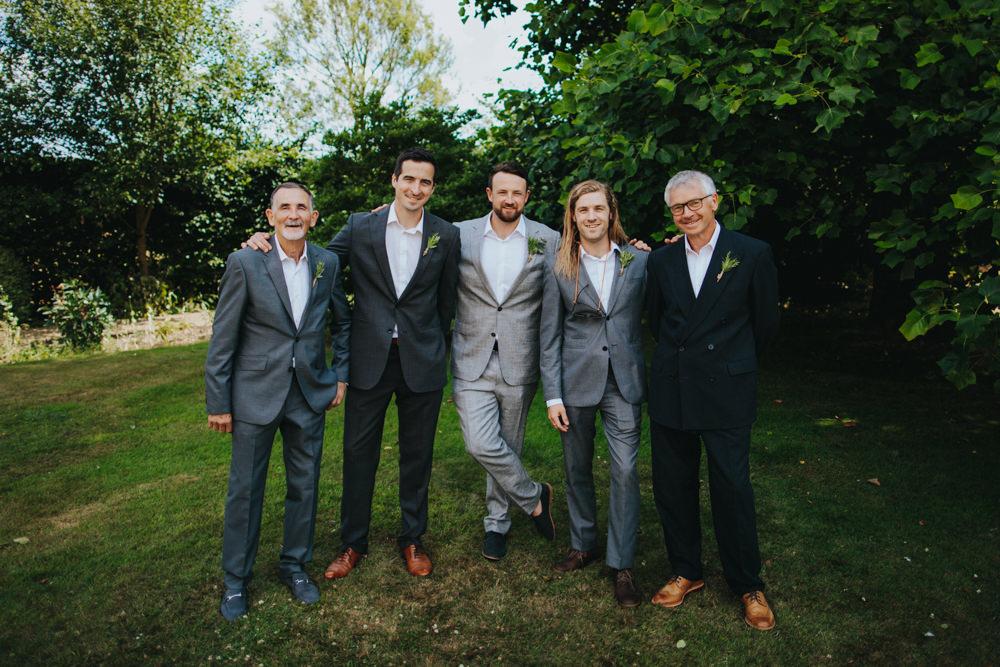 Groom Groomsmen Suits Mismatched Godwick Great Barn Wedding Joshua Patrick Photography