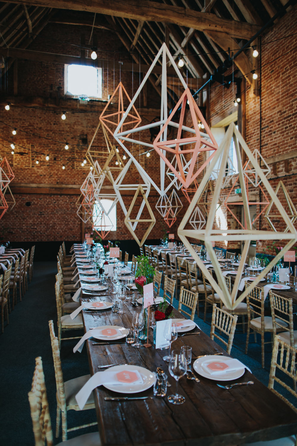 Himmeli Geometric Shapes Hanging Decor Installation Decoration Godwick Great Barn Wedding Joshua Patrick Photography