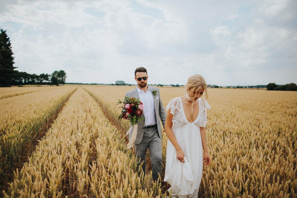 Grace Loves Lace Dress Gown Bride Bridal Sleeves Neckline Bohemian Godwick Great Barn Wedding Joshua Patrick Photography
