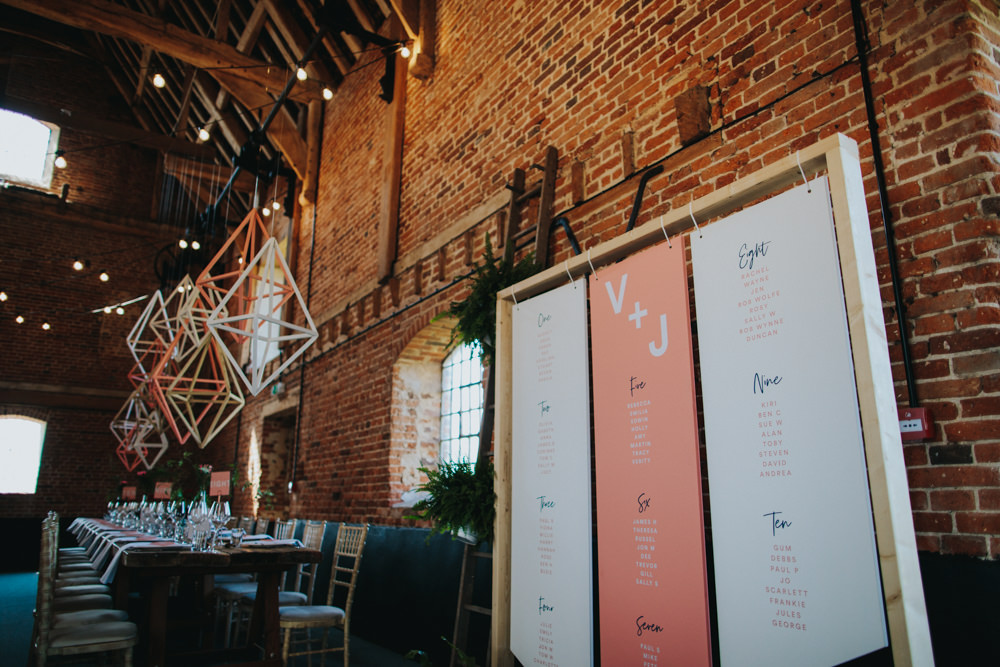Wooden Frame Suspended Hanging Seating Plan Table Chart Modern Pink Graphic Godwick Great Barn Wedding Joshua Patrick Photography