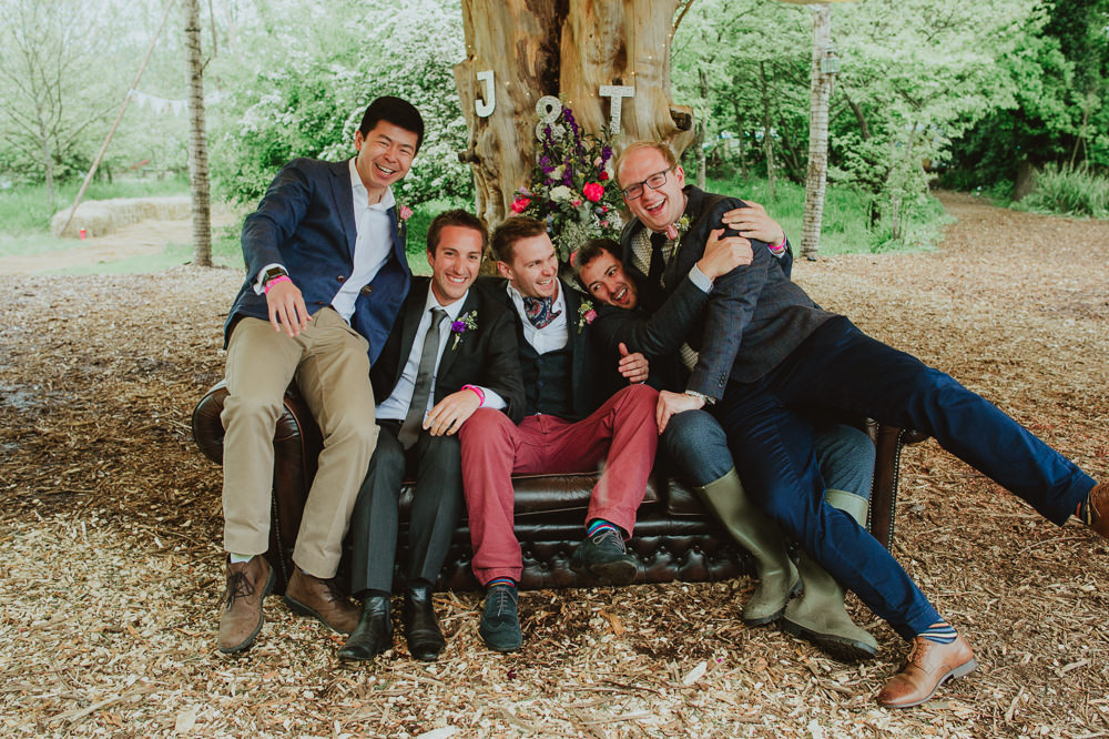 Mismatched Groomsmen Suits Plush Tents Glamping Wedding Big Bouquet Photography