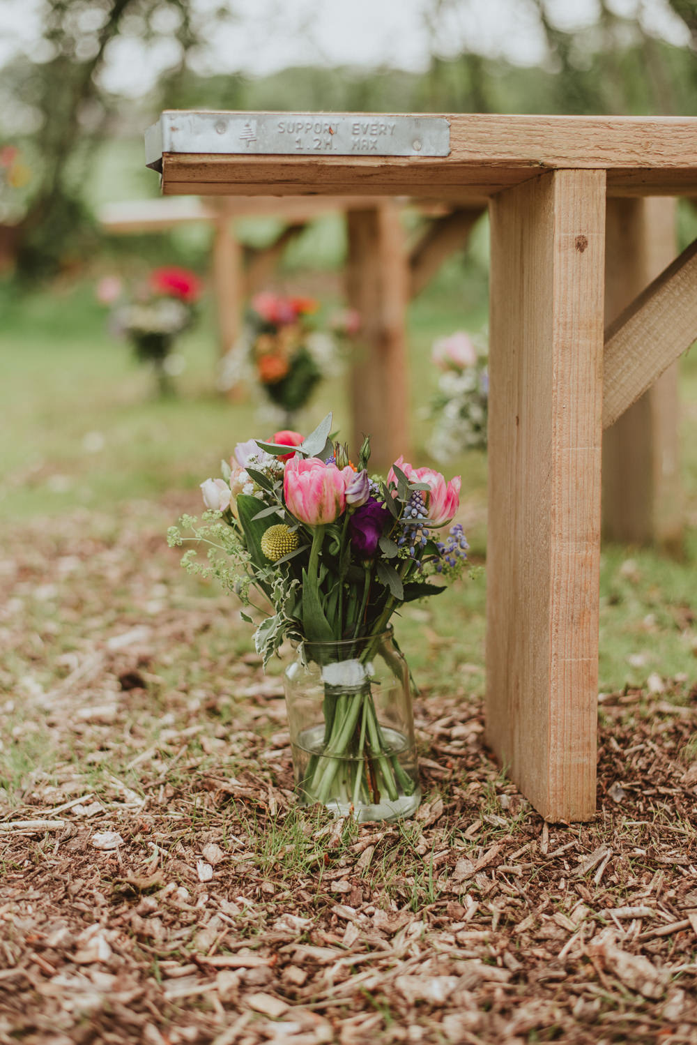 Colourful Aisle Flowers Outdoor Tulip Plush Tents Glamping Wedding Big Bouquet Photography