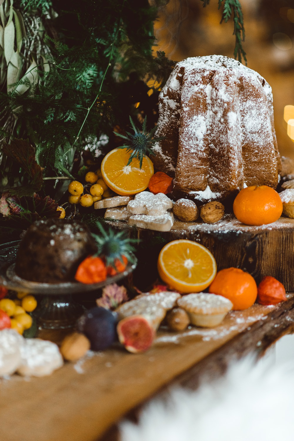 Pudding Fruit Dessert Table Rustic Christmas Wedding Ideas Dhw Photography