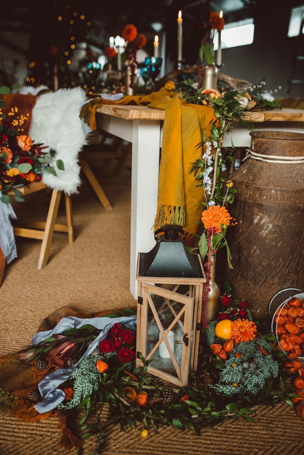 Tablescape Deor Flowers Bottles Fruit Candles Antlers Table Candle Floor Rustic Christmas Wedding Ideas Dhw Photography