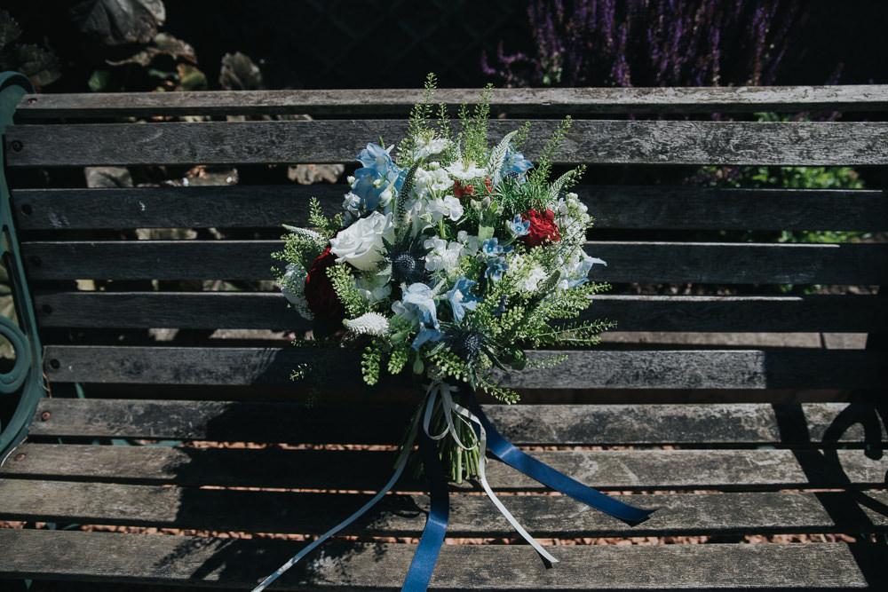 Bride Bridal Bouquet Blue Red Stocks Ribbon Strawberry Barn Wedding Jen Owens Images