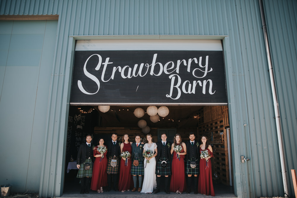Red Rewritten Bridesmaids Bride Bridal Charlie Brear Kilt Groom Strawberry Barn Wedding Jen Owens Images