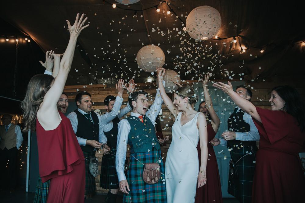 Bride Bridal Fitted Dress Silk Confetti Kilt Groom Strawberry Barn Wedding Jen Owens Images