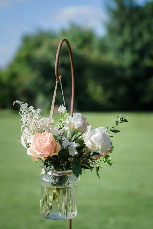 Shepherds Crook Jar Floral Flowers Greenery Peach Rose White Babington House Wedding Ria Mishaal Photography