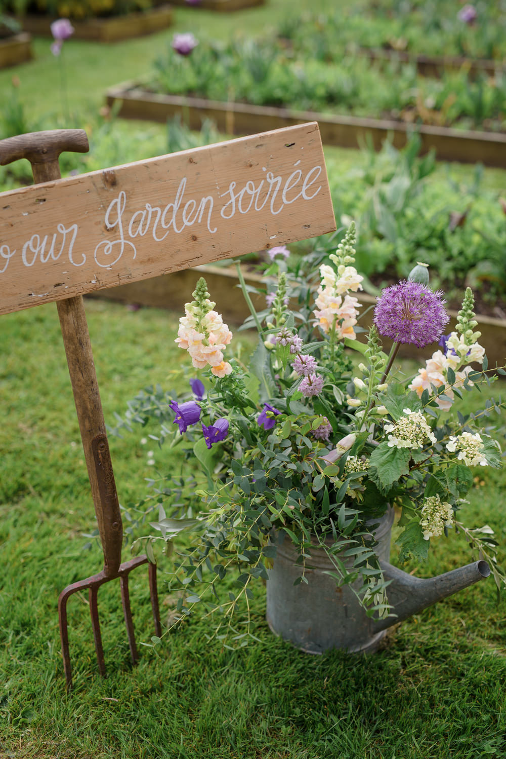 Watering Can Flowers Floral Stocks Wooden Sign Calligraphy Spade Babington House Wedding Ria Mishaal Photography