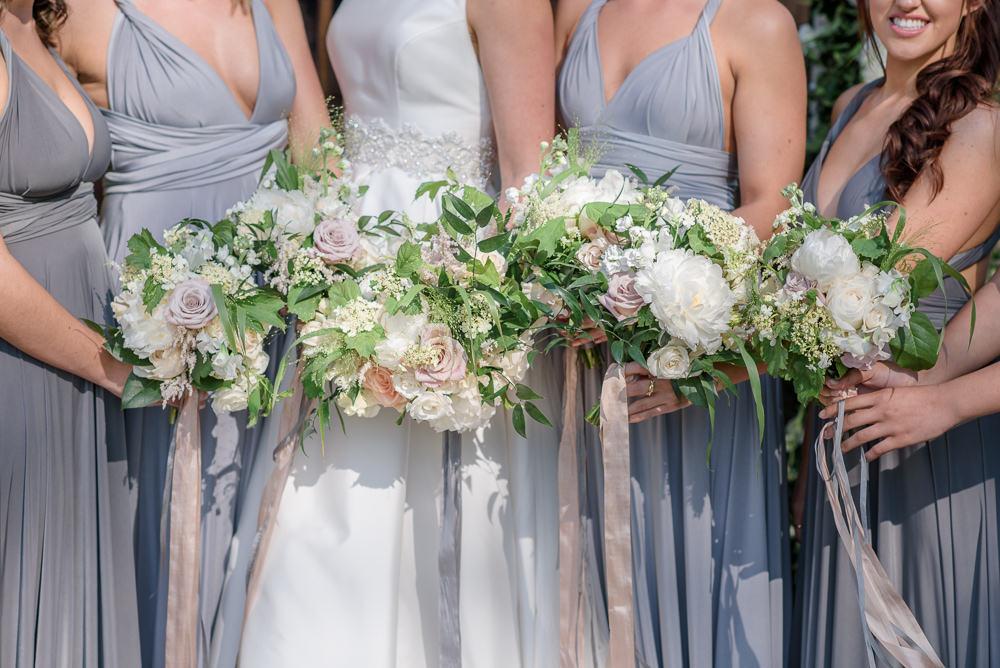 Bride Bridal Bridesmaids Bouquet Pink Blush White Roses Silk Ribbon Babington House Wedding Ria Mishaal Photography