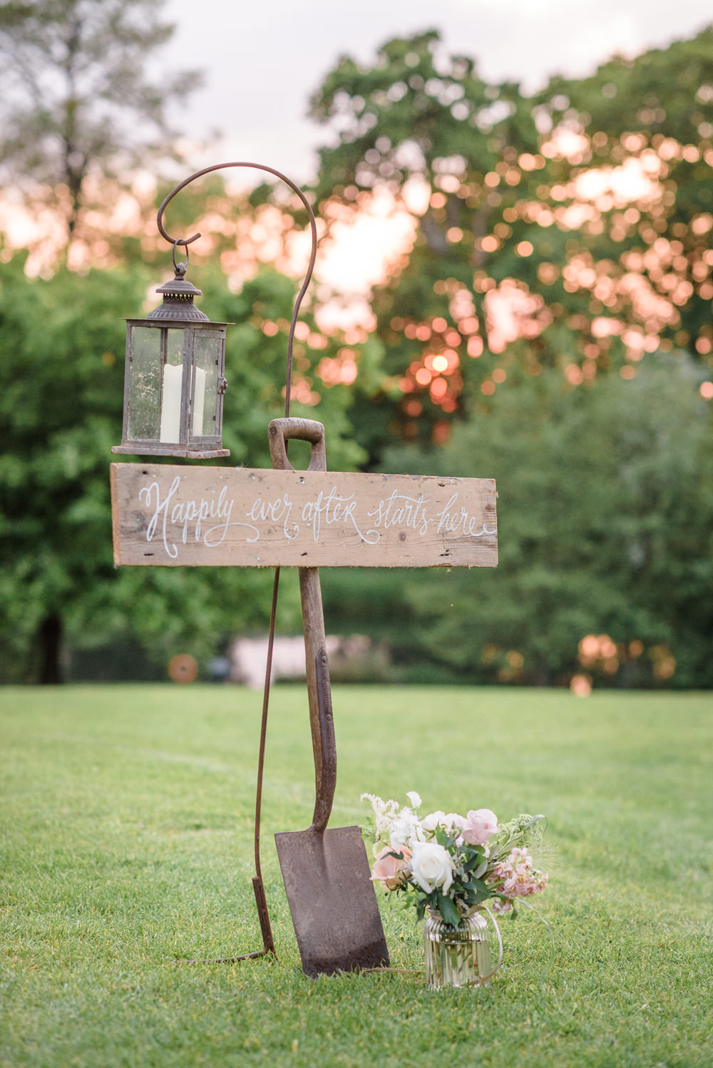 Happily Ever After Starts Here Shepherds Crook Spade Flowers Babington House Wedding Ria Mishaal Photography