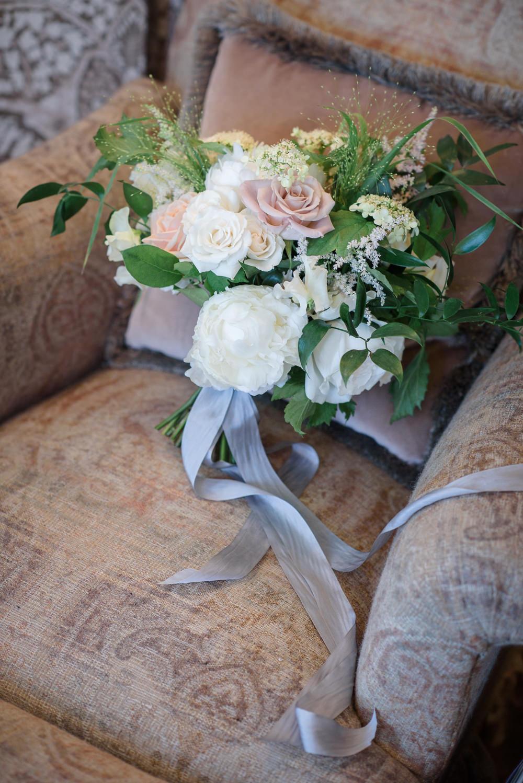 Bride Bridal Bouquet Roses Pink White Greenery Silk Ribbon Babington House Wedding Ria Mishaal Photography