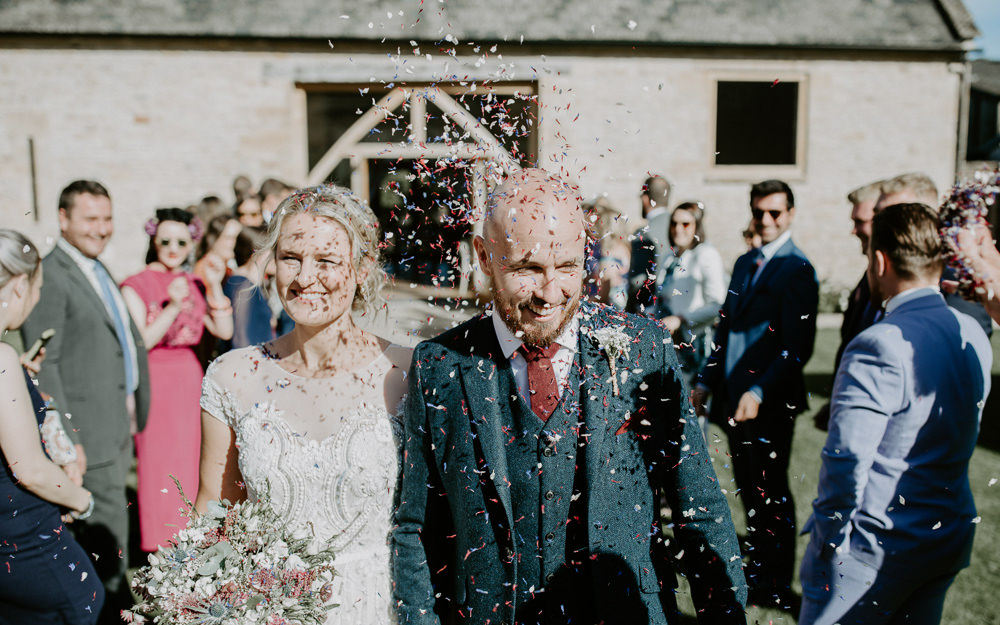 Confetti Throw Barn Upcote Wedding Siobhan Beales Photography