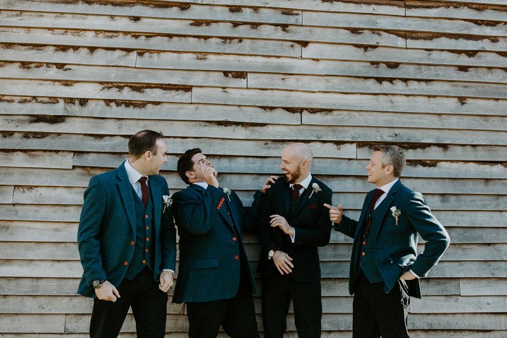 Groom Groomsmen Suit Navy Tweed Barn Upcote Wedding Siobhan Beales Photography