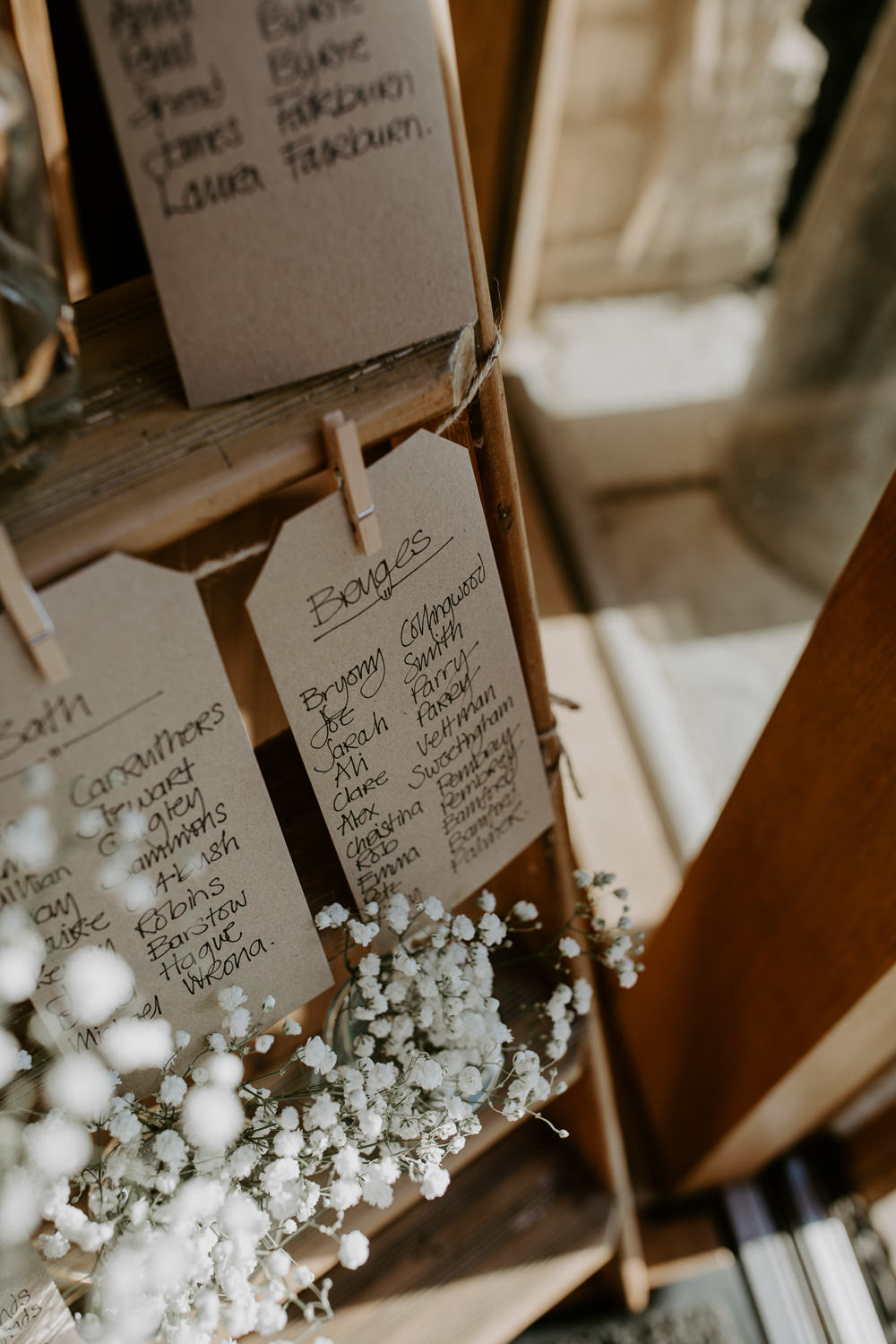 Wooden Ladder Seating Plan Table Chart Gypsophila Pegs Twine Barn Upcote Wedding Siobhan Beales Photography