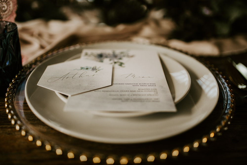 Place Setting Plates Gold Cutlery Stationery Menu Blue Rich Romantic Wedding Ideas Daze of Glory Photography Catherine Spiller Photography