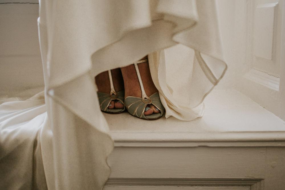 Blue Peep Toe Shoes Bride Bridal Blue Rich Romantic Wedding Ideas Daze of Glory Photography Catherine Spiller Photography