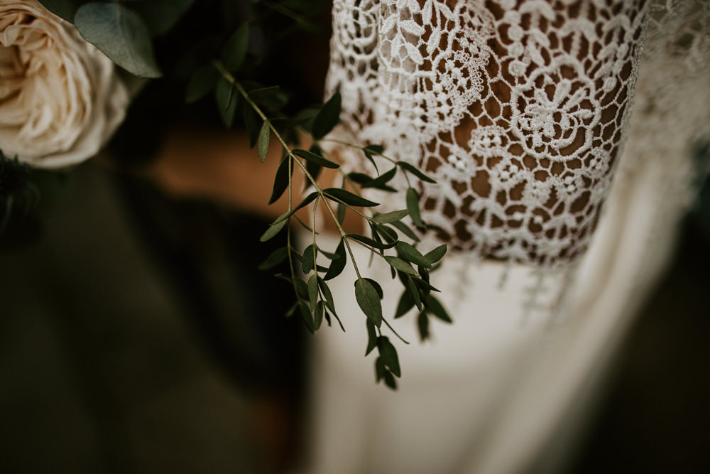 Dress Bride Bridal Gown Fringe Tassel Skirt Sleeves Blue Rich Romantic Wedding Ideas Daze of Glory Photography Catherine Spiller Photography
