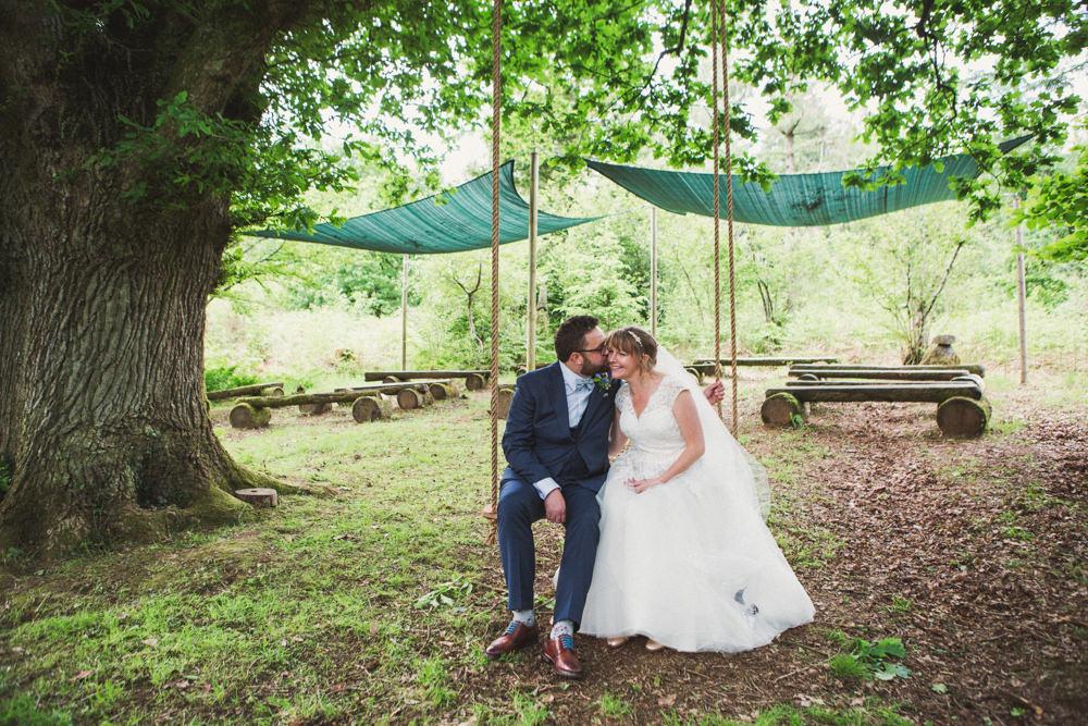 Bride Bridal Ballerina Length Dress Lace Sleeves Navy Suit Bow Tie Groom Veil Middle Coombe Farm Wedding Emma Stoner Photo