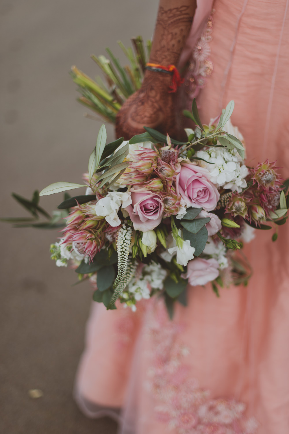 Bride Bridal Bouquet Flowers Pink Rose Greenery Newton Hall Wedding Sasha Weddings